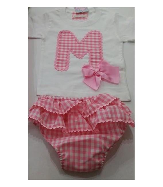 conjunto de braguita y camiseta inicial cuadrito vichi rosa