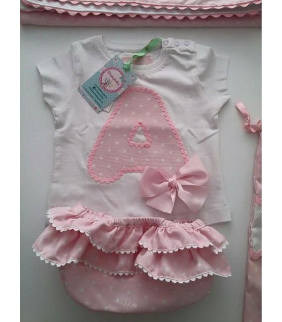 Conjunto de pañalera y camiseta incial estrella rosa