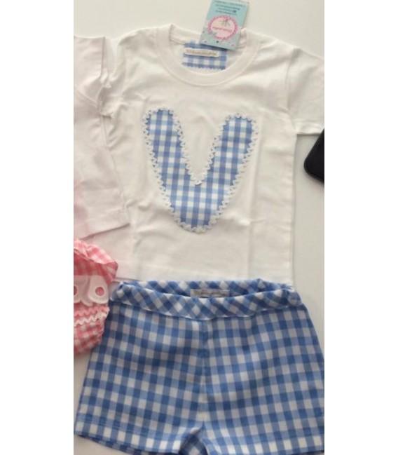 Conjunto de bermuda y camiseta inicial niño ( celeste)