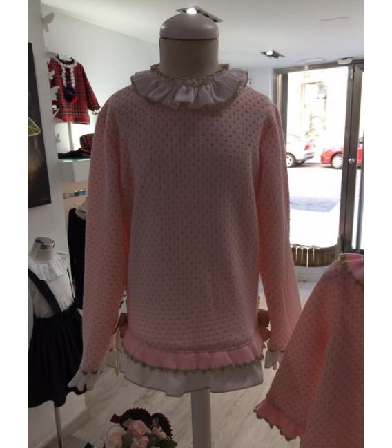 Jersey niña rosa detalles de camisa