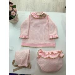 Vestido niña punto rosa