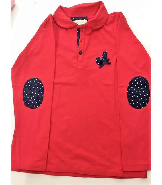 Polo rojo niña, personalizado con nombre, en algodon azul marino/estrella blanca