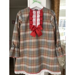 Vestido evade Burberry, con detalles de tira bordada