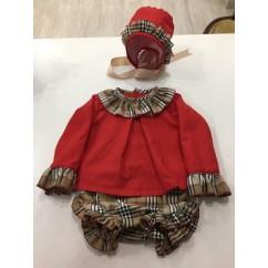 Conjunto bebé 3 piezas rojo/ burberry