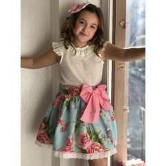 Conjunto blusa Plumeti y tul y falda vuelo turquesa