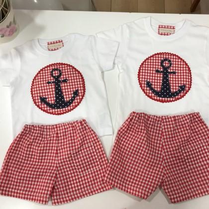 Conjunto niño bermuda cuadro vichi rojo y camiseta ancla