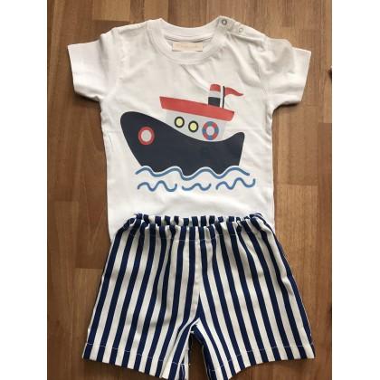Conjunto bermuda rayas niño y camiseta barco