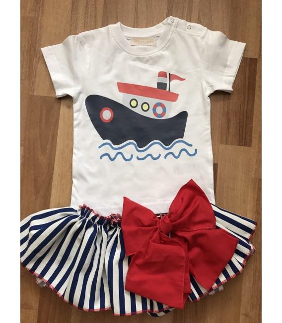 Conjunto marinero de niña faldita rayas y camiseta de barco.